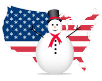 Snowman and US Flag. Snowman in front of a US flag with snowflakes instead of stars Stock Photography