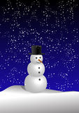 Snowman (vector). Vector snowman in snow breeze Royalty Free Stock Photos