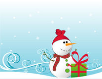 Snowman vector. With a gift christmas vector compotion Stock Image