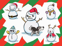 Snowman. Vector art .A dog was in separate layer you can move it out Royalty Free Stock Images