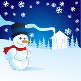 Snowman, vector illustration Stock Image
