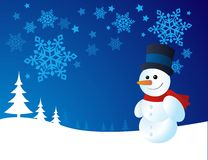 Snowman, vector illustration Stock Photos