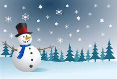 Snowman, vector illustration Stock Photography