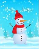 Snowman vector illustration on blue background. Christmas card Stock Photos