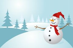 Snowman, vector illustration Royalty Free Stock Image