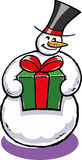 Snowman. A vector illustration of a snowman with e giftbox Royalty Free Stock Images