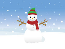 Snowman. Vector illustration of a snowman with falling snow Stock Image