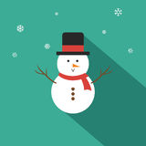 Snowman Vector illustration Flat Design. On Tosca Green Background Stock Images