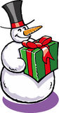 Snowman. A vector illustration of a snowman with a giftbox Stock Photo