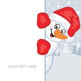 Snowman. Vector illustration. Snowman in a red hat and mittens. Vector illustration. Greeting card Royalty Free Stock Photos