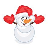 Snowman. Vector illustration. Snowman in a red hat and mittens. Vector illustration. Greeting card Royalty Free Stock Photo