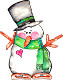 Snowman. Vibrant colorful snowman watercolor with scarf and top hat Royalty Free Stock Photo