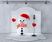 Snowman with Vintage Microphone standing on an stage Royalty Free Stock Image