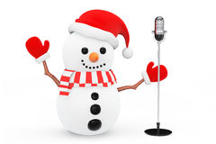 Snowman with Vintage Silver Microphone Stock Photos