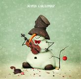 Snowman and violin. Holiday greeting card with snowman playing violin for Joyful Christmas . Computer graphics royalty free illustration