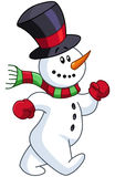 Snowman walking Royalty Free Stock Photo
