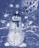 Snowman, watercolor. card royalty free illustration