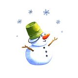 Snowman, watercolor illustration Stock Images