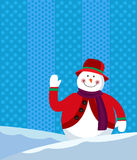 A snowman waving happily Stock Photo