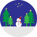 Snowman. Wear red cap and Christmas trees Stock Photo