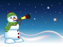 Snowman wearing a green head cover and a scarf blowing horns with star, sky and snow hill background for your design vector illust Stock Photography