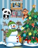 Snowman Wearing A Green Head Cover And A Scarf with christmas tree and fire place Vector Illustration. Colourfull Royalty Free Stock Photography