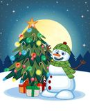 Snowman Wearing A Green Head Cover And A Scarf With Christmas Tree And Full Moon At Night Background For Your Design Vector Illust Royalty Free Stock Photography