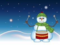 Snowman wearing a green head cover and a scarf playing drums with star, sky and snow hill background for your design vector illust Royalty Free Stock Photos
