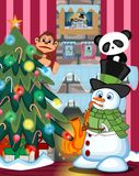 Snowman Wearing A Green Head Cover And A Scarf Playing Saxophone with christmas tree and fire place Illustration Royalty Free Stock Images