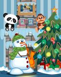 Snowman Wearing A Green Head Cover And A Scarf Playing Saxophone with christmas tree and fire place Vector Illustration. Colourfull Stock Photos