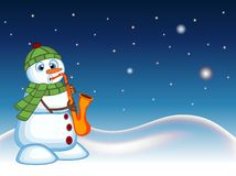 Snowman wearing a green head cover and a scarf playing saxophone with star, sky and snow hill background for your design vector il Stock Photos