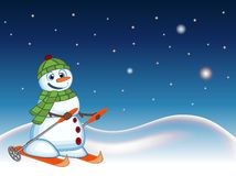 Snowman wearing a green head cover and a scarf is skiing with star, sky and snow hill background for your design vector illustrati Stock Photography