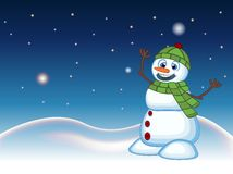 Snowman wearing a green head cover and a scarf with star, sky and snow hill background for your design vector illustration Stock Photography