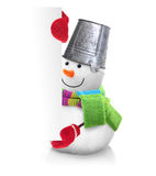 Snowman wearing green scarf and red gloves Royalty Free Stock Photography