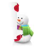 Snowman wearing green scarf and red gloves Stock Photography