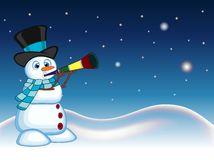 Snowman wearing a hat and a blue scarf blowing horns with star, sky and snow hill background for your design vector illustration Royalty Free Stock Photos