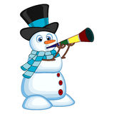 Snowman wearing a hat and a blue scarf blowing horns for your design vector illustration Stock Images