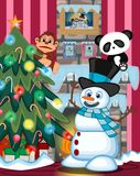 Snowman Wearing A Hat And A Blue Scarf with christmas tree and fire place Illustration Royalty Free Stock Photography