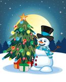 Snowman Wearing A Hat And A Blue Scarf With Christmas Tree And Full Moon At Night Background For Your Design Vector Illustration Royalty Free Stock Image