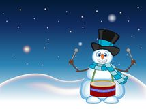Snowman wearing a hat and a blue scarf playing drums with star, sky and snow hill background for your design vector illustration Royalty Free Stock Photography