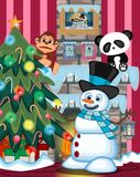 Snowman Wearing A Hat And A Blue Scarf Playing Saxophone with christmas tree and fire place Illustration. Colourfull Royalty Free Stock Photo