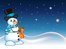 Snowman wearing a hat and a blue scarf playing saxophone with star, sky and snow hill background for your design vector illustrati Stock Images