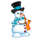 Snowman wearing a hat and a blue scarf playing saxophone for your design vector illustration Royalty Free Stock Photography