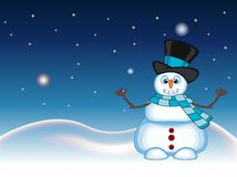 Snowman wearing a hat and blue scarf waving his hand with star, sky and snow hill background for your design vector illustration Stock Photo