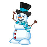 Snowman wearing a hat and a blue scarf for your design vector illustration Royalty Free Stock Images