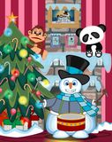 Snowman wearing a hat, blue sweater and a blue scarf playing drums with christmas tree and fire place Illustration Royalty Free Stock Photos