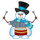 Snowman wearing a hat, blue sweater and a blue scarf playing drums for your design vector illustration Stock Photography