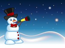 Snowman wearing a hat and a bow ties blowing horns with star, sky and snow hill background for your design vector illustration Royalty Free Stock Photo