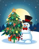 Snowman wearing a hat and a bow ties With Christmas Tree And Full Moon At Night Background For Your Design Vector Illustration Stock Photo