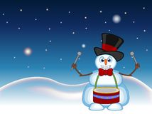 Snowman wearing a hat and a bow ties playing drums with star, sky and snow hill background for your design vector illustration Stock Image